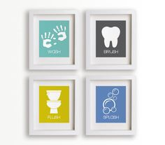 Bathroom Manners - Set of Four Bathroom Decor Prints - kids decor, educational, children art, bathroom art, kids bathroom. $39.95, via Etsy.