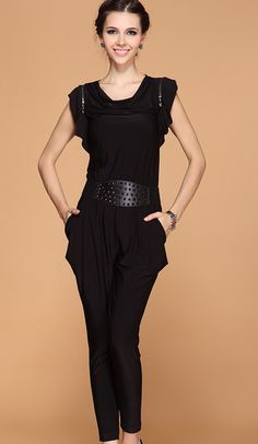 Black Ruffle Sleeve Draped Front Belt Jumpsuit