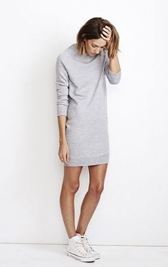 sweater dresses, white converse dress, casual grey dress, dress sneaker, casual styles, sweatshirt dress, dresses and sneakers, casual looks, grey dresses