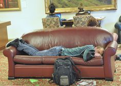 Nov. 7, 2012. One never knows when the urge to nap will become overwhelming, so it's good to know that the Memorial Union has no shortage of comfy couches at the ready. Photo by Mark Land.