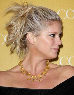 Rachel Hunters messy, updo hairstyle