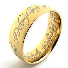 KONOV Jewelry Stainless Steel Wedding Band Mens Ring, Lord, Gold (Available in Size 6, 7, 8, 9, 10, 11, 12, 13, 14, 15)