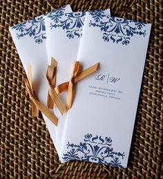 Brocade Wedding Programs - Navy blue and gold 2 Panel with Satin ribbon