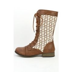Chapter-31 Lace Overlay Combat Boots TAN BEIGE