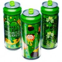 st. pat's cool gear can™st.   portable, earth-friendly, reusable and fashionable! 16oz. double wall insulated with spill proof sliding tab top!