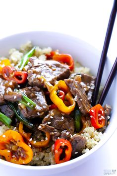 Easy Pepper Steak - this was amazeballs!!! better than takeout and really easy. would be easy to modify for dietary restrictions. next time double the sweet peppers, wasn't enough veg. will make this again and again. served it over quinoa. yum.