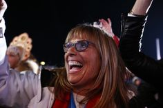 Proud mom, Lauren Anderson watching her daughter #PGFamily & #TeamUSA athlete Jamie Anderson picking up her Gold medal!