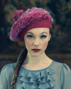 Erika 2 from #140 - Eventyr (Feat. Luzia & Akiko) by Louisa Harding at KnittingFever.com Hats with fur pompoms