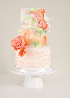Watercolor on a cake is so cool!