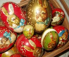 Antique paper mache Easter egg candy containers.