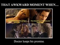 When people tell me River and the Doctor aren't married, I get mad. Even though it happened in a time that didn't even end up happening, they married each other and that is that. I think I like the Doctor and River together because she makes him more humane.