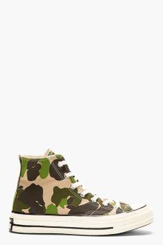 CONVERSE PREMIUM CHUCK TAYLOR Green CAMO CHUCK TAYLOR ALL STAR '70s High Top Sneakers