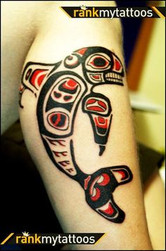 N.W. Native American - Tattoo of a whale.  The artist mentioned that they have a cat and an eagle in this tattoo as well.  I'd love to get a N.W. Native American Tattoo.