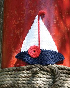 Add nautical flair to your kitchen decor with this crocheted Sailboat Dishcloth. Shown in Lily Sugar'n Cream.
