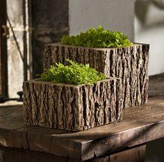 faux bois square planters