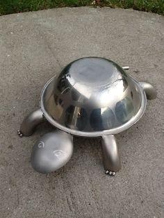 Stainless Steel Turtle Yard Art. 135.00, via Etsy.