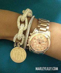 Monogrammed Clear Crystal Glitzy Chain Bracelet