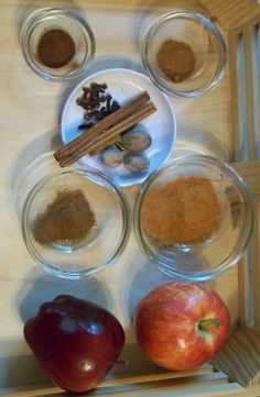 Kids can explore the 5 Senses with spices and baking ingredients -- includes making a wonderful sensory writing tray!