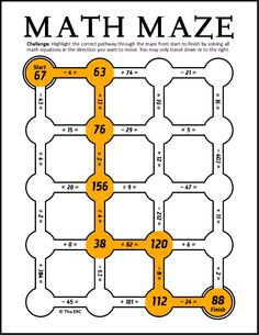 FREE MATH MAZE DOWNLOAD~ This Math Maze can only be completed by doing math! In each exercise, your students start with a number at the top left corner, and then must find the correct path that leads to a number already at the finish. It's a great way to practice computation and engaging for students of all ability levels!