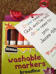 """Super gift idea for kids of any age : markers or crayons (cheap during back to school sales) with a tag that says """"DRAW near to God, and he will DRAW near to you."""" James 4:8 a      Jessica used these for Valentine's day with a pencil and it was so cute.  This is a perfect idea for visitiation/outreach gift ideas too."""