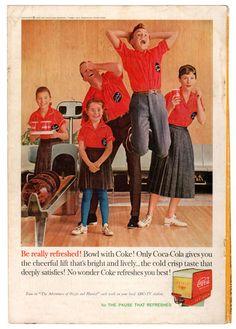 coca cola, cola famili, coke, famili bowl, ad bowl, cocacola, bowl ad, ad 1960, bowls
