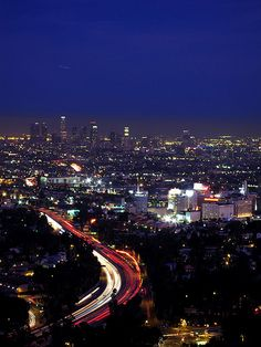 View From Hollywood To Downtown Los Angeles, Mulholland Drive, California