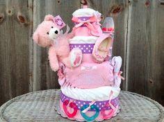 Ballerina Bear 4 Tier Diaper Cake Ballerina Baby by AllDiaperCakes, $89.95