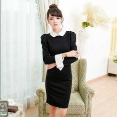 Peter pan Collar Fashion Womens Slim Mix-Color Long Sleeve Dress