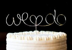 Cake Topper Monogram Silver Set We Do with Heart by CreativeStamps, $15.00
