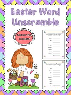 """Here are 2 easter word unscramble sheets. There are 10 words per sheet with 2 sheets total. Great for morning work or """"I'm done"""" worksheet."""
