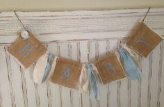 Shabby chic burlap baby banner, baby boy nursery, burlap banner, baby, nursery decor, baby sign, baby announcement, rustic decor