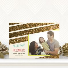 Bright and bold glitter makes this holiday greeting sparkle. Glittered Up - Flat #Holiday Photo Cards by Petite Alma. #Christmas