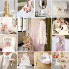 Pink gold and taupe wedding inspiration.
