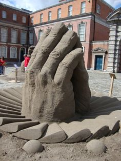 Art outside Dublin Castle giant hand sculpture.