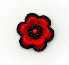 CROCHET BEADED BROOCH APPLIQUE RED FLOWER POPPY FLOWER in Crafts, Crochet, Other Crochet | eBay