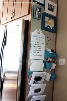 great use of space: she attached a large piece of sheet metal to a little used area in the kitchen (next to the fridge). Then, attached organizers for each person, some small buckets, a white board, magnets, etc. Command Central.