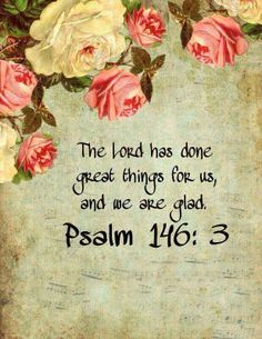 PSALM   146:3  -  The Lord has done great Things for us and we are Glad !!!!!