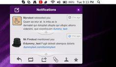 Menu bar Twitter notifications interface free PSD