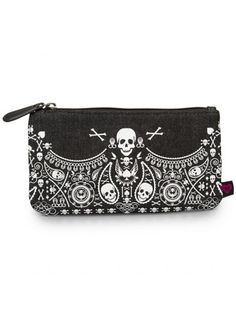 """Denim Skull Bandana"" Pencil Case by Loungefly (Black/White) #InkedShop #pencilcase #makeupcase #skull #bag #small"