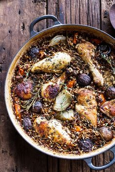 One-Pot Autumn Herb Roasted Chicken With Butter-Toasted Wild Rice Pilaf