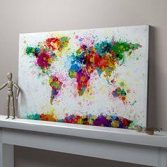 Stencil the world then splash paint