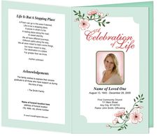 Funeral Order of Service Program Template Frame Designs : Allison Preprinted Title Letter Single Fold Template. Available in Mint (shown), Blue, Gray, and Pink.