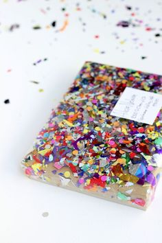 package decorated with confetti