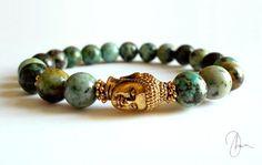 Turquoise Jasper Buddha Bracelet Gold Mens by DharaJewellery