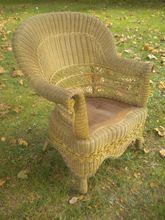 Rare Natural Antique Victorian Wicker Arm Chair Circa 1890's
