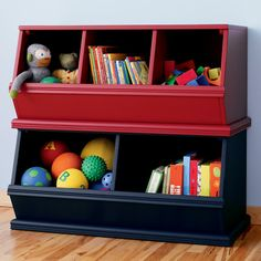 Kids' Toy Boxes: Kids Wooden Primary Stacking Storage 2 and 3 Bin in Toy Boxes  Bins | The Land of Nod