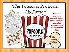 Your classroom will be popping with this popcorn theme pronoun pack. The set includes pronoun practice charts, pronouns cards, and directions for using the cards to race against the clock as a whole class while practicing pronouns! ($)