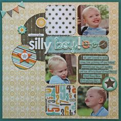 title in between photos, good use of squares in design of scrapbook page layout