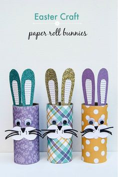 Easter Craft: Paper Roll Bunnies #Easter #EasterCraft