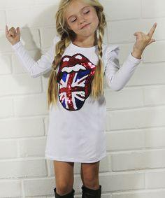 Look what I found on #zulily! White Sequin British Dress - Toddler & Girls #zulilyfinds